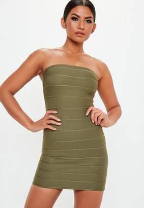 Missguided Khaki Bandage Bandeau Mini Dress