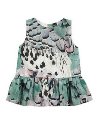 Molo Cai Cotton Rooster Feather Dress, Aqua Blue/Multicolor, Size 3-24 Months