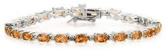 Silvercz Jewels 7 Carat Tw Citrine And D/VVS1 Diamond Link Bracelet In 14K Gold Plated