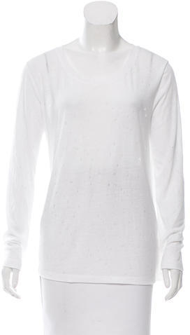 Alexander Wang T by Alexander Wang Distressed Long Sleeve Top