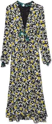 Proenza Schouler Long Sleeve V-Neck Printed Georgette Dress in White Wildflower