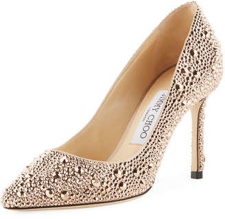 Jimmy Choo Romy 85mm Satin Pumps with Hotfix Crystals