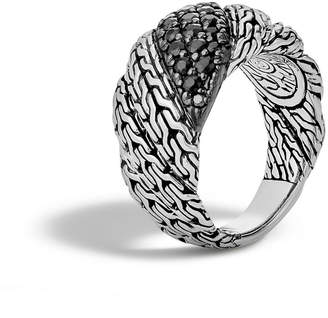 John Hardy Classic Chain Silver Twisted Lava Ring, Size 7