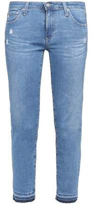 AG Jeans Cropped Distressed Low-Rise Skinny Jeans