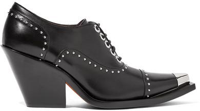 Givenchy - Lace-up Studded Pumps In Black Leather