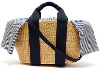 Muun George Vichy Canvas And Woven Straw Bag - Womens - Blue Multi