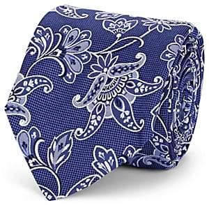 Barneys New York Men's Paisley Textured Silk Necktie - Blue