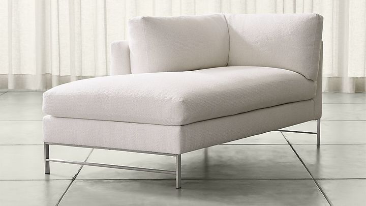 Crate & BarrelGenesis Left Arm Chaise with Brushed Stainless Steel Base