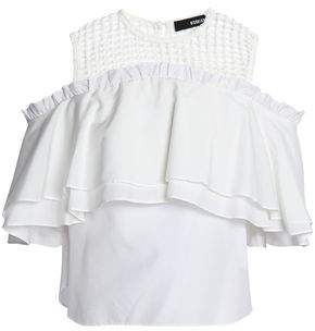Nicholas Cold-Shoulder Ruffle-Trimmed Cotton And Silk-Blend Top