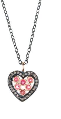 Latelita London - Diamond Heart Pink Tourmaline Necklace