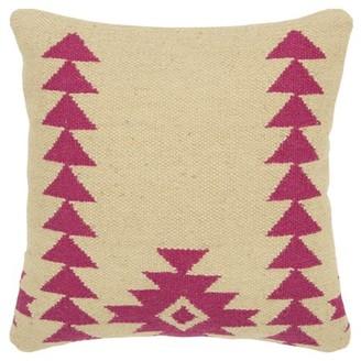 "Rizzy Home Decorative Throw Pillow Cover Aztek Motif 18""X18"" Pink"