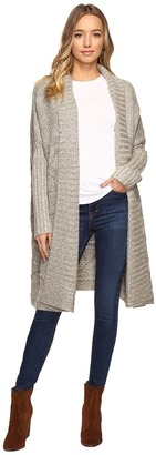 Christin Michaels Zienna Collared Cable Knit Long Cardigan $129 thestylecure.com