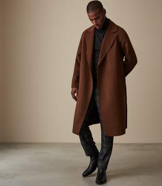 Reiss Our last order date for Christmas has now passed VINCENT WOOL BELTED OVERCOAT Tobacco