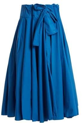 Maison Rabih Kayrouz Gathered Waist Paper Taffeta Midi Skirt - Womens - Blue