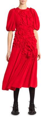 Simone Rocha Silk Ruched Flower Midi Dress