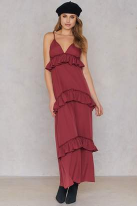 boohoo Ruffle Strap Maxi Dress