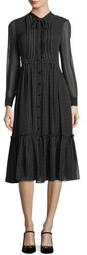 Kate Spade Kate Spade New York Silk Chiffon Pin Dot Shirtdress, Black/Cream