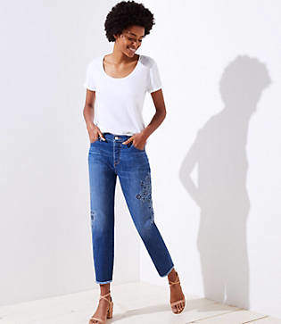 LOFT Petite Floral Embroidered Boyfriend Jeans in Classic Blue Wash