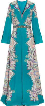 Etro - Embellished Paisley-print Silk Gown - Teal $4,880 thestylecure.com