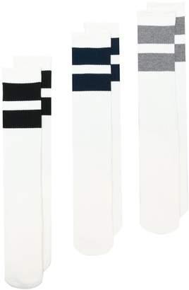 Neighborhood three-pack stripe detail socks