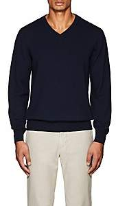 Luciano Barbera MEN'S WOOL V-NECK SWEATER - NAVY SIZE XS