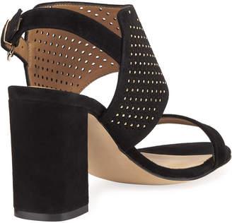 Neiman Marcus Brae Perforated Suede Sandals, Black