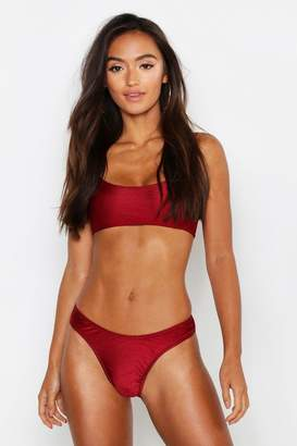 boohoo Petite Textured High Rise Strappy Bikini