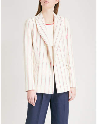 Sandro Striped single-breasted cotton and linen-blend jacket