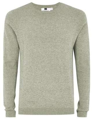 Topman Mens Khaki Twist Side Ribbed Sweater