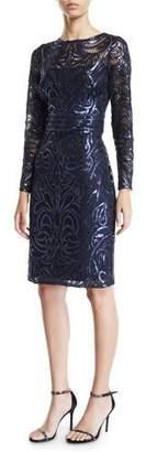 Tadashi Shoji Sequin Swirl Long-Sleeve Dress