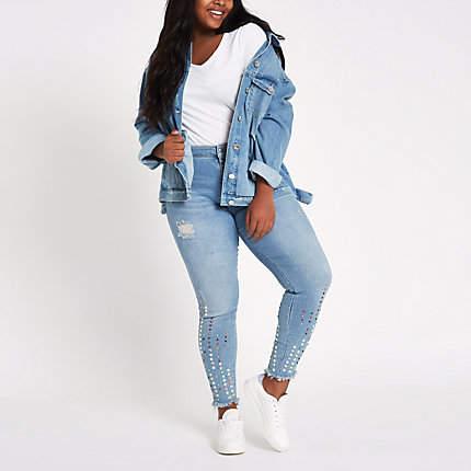 Womens Plus Blue Amelie gem mid rise skinny jeans