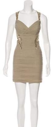 Jovani Pleated Embellished Mini Dress