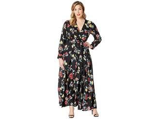 Unique Vintage Plus Size Floral Long Sleeve Farrah Maxi Dress