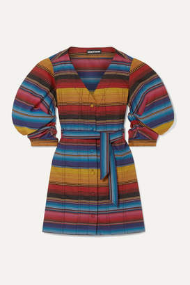 House of Holland Belted Striped Woven Mini Dress - Blue