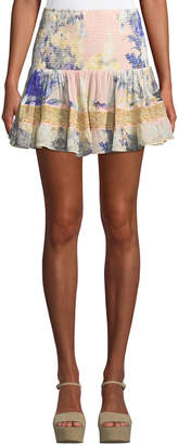 Camilla Shirred Floral-Print Smocked Mini Skirt