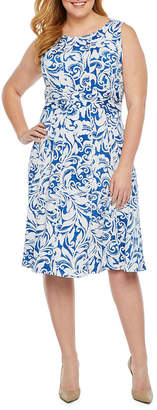 Perceptions Sleeveless Puff Print Sheath Dress-Plus