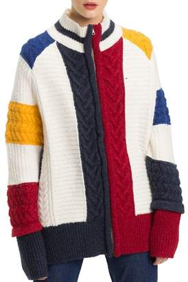 Tommy Jeans Chunky Cable-Knit Color-Block Cardigan