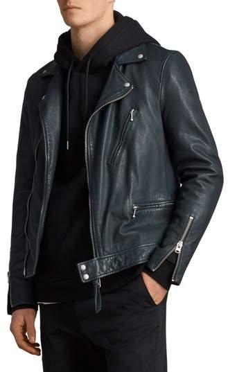 Carver Slim Fit Leather Biker Jacket