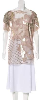 Valentino Embellished Lace Top Champagne Embellished Lace Top
