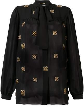 Saint Laurent semi-sheer embroidered shirt