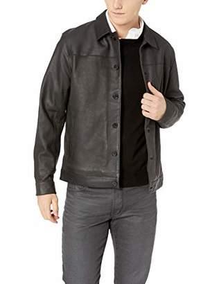 Perry Ellis Men's Heritage Nubuck Leather Bomber Jacket