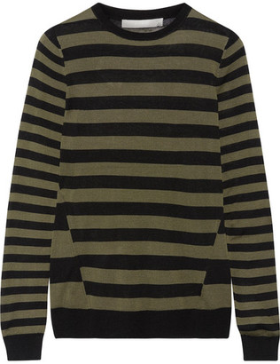 Jason Wu - Striped Silk Sweater - Army green $550 thestylecure.com