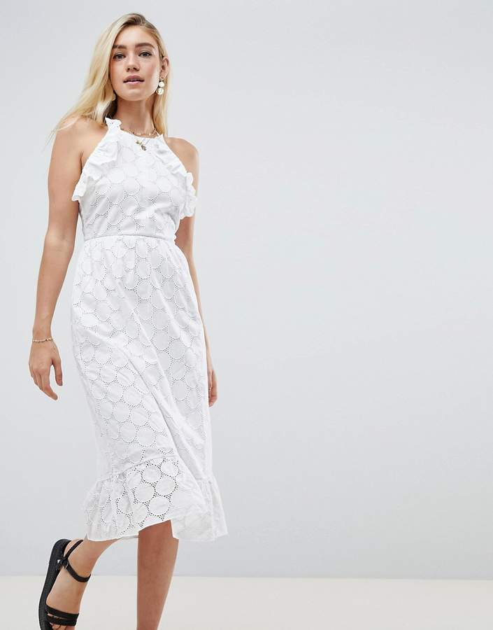 DESIGN Broderie Midi dress With open back
