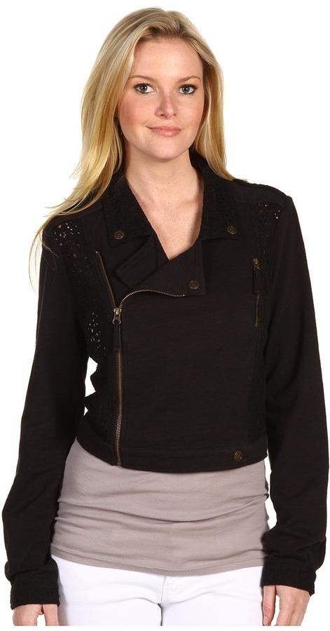 Free People Eyelet Pieced Moto Jacket (Black) - Apparel