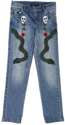John Richmond Stretch Denim Jeans W/ Patches