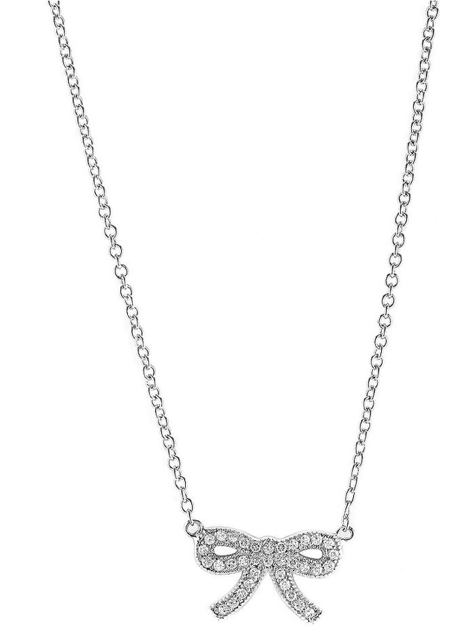 CRISLU Necklace, Platinum over Sterling Silver Cubic Zirconia Bow Pendant (1 ct. t.w.)