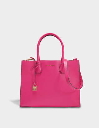 MICHAEL Michael Kors Mercer Large Convertible Tote Bag in Ultra Pink Pebbled Leather