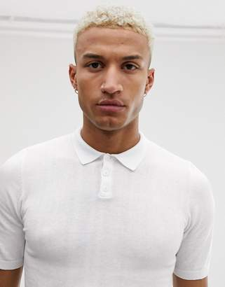 Asos Design DESIGN knitted muscle fit polo t-shirt in white