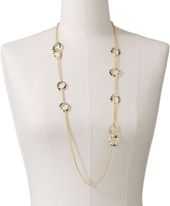 Daisy fuentes ® gold tone circle link long multistrand necklace