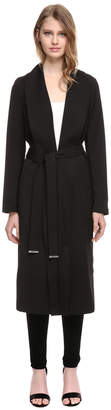 Soia & Kyo DESSIE straight-fit belted coat with long draped collar
